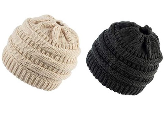 10. M_Eshop 2 Pack of Women Beanie Trendy Ponytail Messy Bun Beanie Soft Warm Knitting Solid Ribbed Hat