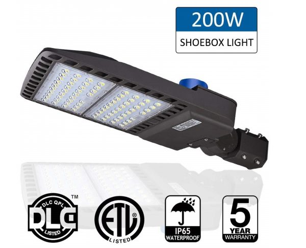 2. 200W LED Parking Lot Lights- LEDMO 5000K LED Street Lights Shoebox Pole Lights