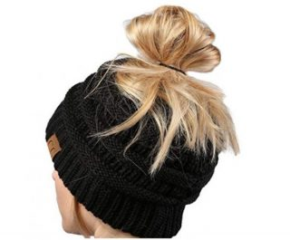 2. Funky Junque CC Ponytail Messy Bun BeanieTail Womens Beanie Solid Ribbed Hat Cap