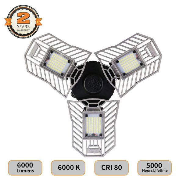 2. LED Garage Lights, Deformable LED Garage Ceiling Lights 6000 Lumens, 60W CRI 80 Led Shop Lights for Garage, Garage Lights with 3 Adjustable Panels