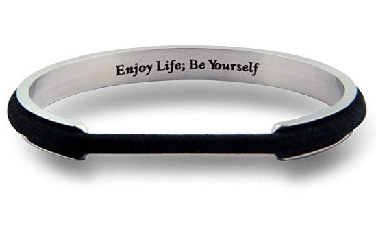 2. Zuo Bao Handstamped Inspirational Message Hair Tie Bracelet Stainless Steel Grooved Cuff Bangle for Women Girls