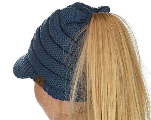 3. C.C BeanieTail Warm Knit Messy High Bun Ponytail Visor Beanie Cap