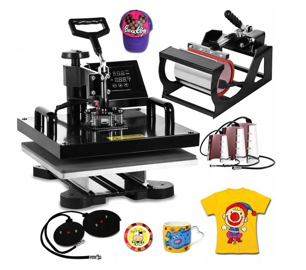 3. VEVOR Heat Press Machine15x15inch 8 in 1 Digital Multifunctional Sublimation Auto-Countdown Heat Presser for T Shirts Hat Mug