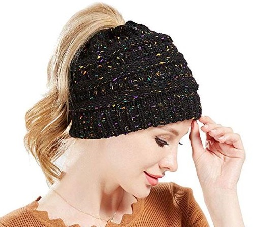 4. Beanie Winter Hats for Women,Warm Stretch Cable Knit Beanie,High Bun Ponytail Beanie Hat