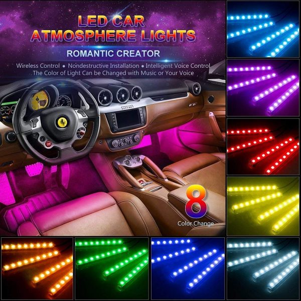 4. Car LED Strip Light, Wsiiroon 4pcs 48 LED Multicolor Music Car Interior Lights Under Dash Lighting Waterproof Kit