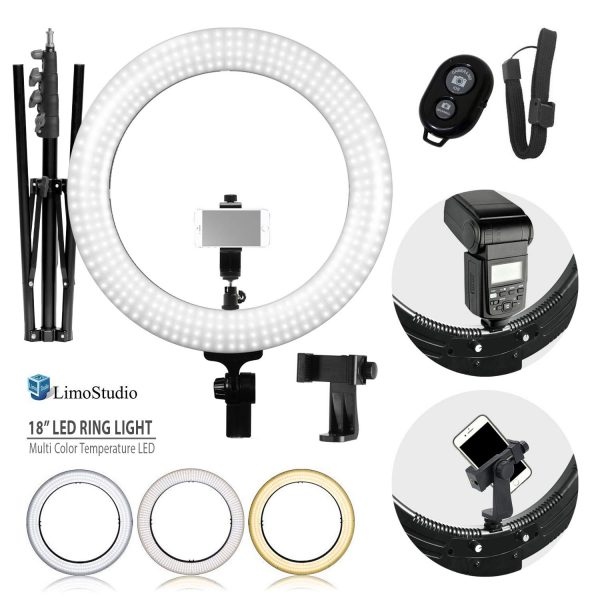 7. LimoStudio LED Ring Light 18-inch Diameter with Tripod Stand, Angle Adjusting Camera Holding Plate, Cell Phone Holding Clip