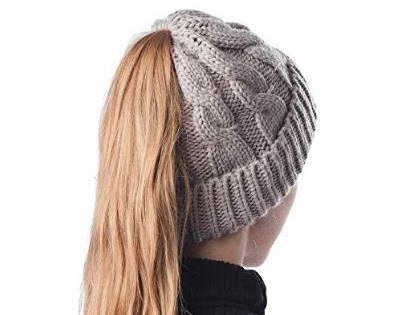 7. Scrub Green Soft High Bun Ponytail Beanie Hat Stretch Cable Knit Messy Winter Women Warm Visor Horsetail Skull Cap
