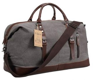 d653d626bf Ulgoo Travel Duffel Bag Canvas Bag PU Leather Weekend Bag Overnight