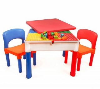 8. Smart Builder Toys 3 in 1 Major Brands Compatible Activity Table with Removable Cover and Large Storage Area with 2 Chairs Set