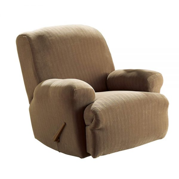 8. SureFit Stretch Pinstripe 1-Piece - Recliner Slipcover - Taupe