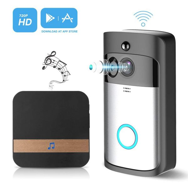 8. Video Wireless Doorbell Camera WiFi Doorbell GJT 720P HD Home Security Camera with Chime 166° Wide Angle Real