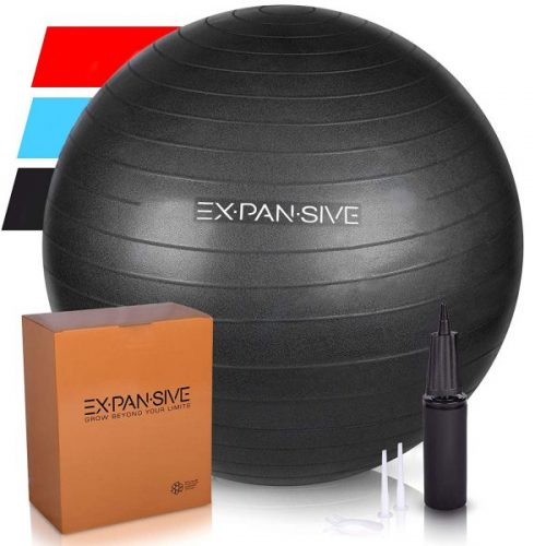 9. Expansive Living Anti Burst Exercise Ball -2,000lb STATIC STRENGTH STABILITY, PROFESSIONAL GRADE. Balance Ball