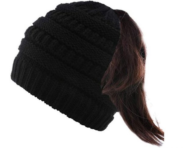 9. Valpeak Soft Messy Bun Beanie Hat Womens Beanie Ponytail Stretch Cable Knit Bun Hat