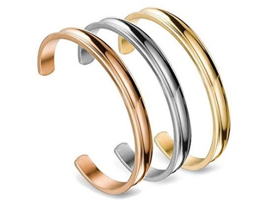 9. WUSUANED Hair Tie Bracelet Stainless Steel Grooved Cuff Bangle Gift for her