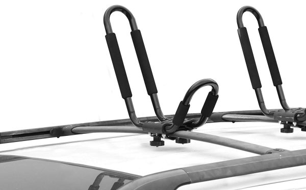 1. CargoLoc 2-Piece Universal Roof Top Mounted Kayak Paddle Board Canoe Boat and Lumber Carrier – Designed to Fit Most Roof Top Cross Bars – Easy Installation