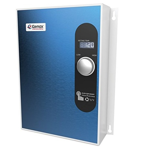 10. Eemax EEM24018 Electric Tankless Water Heater Blue
