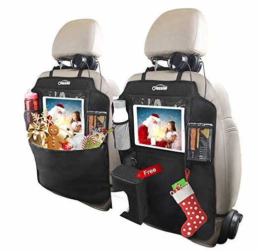 10. Oasser Kick Mats Car Seat Back Protectors Back of Seat Organizers 2 Pack XL with 1 Tissue Box Clear