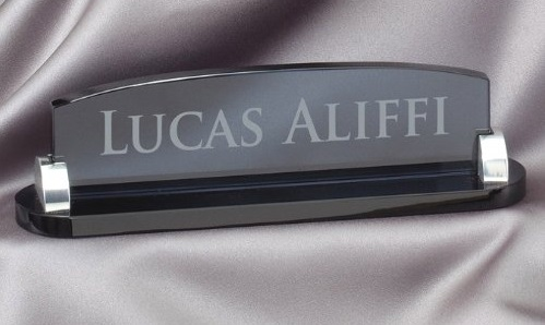 10. Smoked Glass Name Plate with Free Engraving