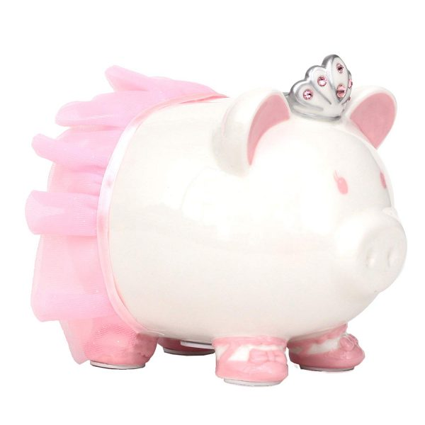 10. Swarovski with Crown Princess Porcelain Piggy Bank for Kids by FAB Starpoint (Pink)