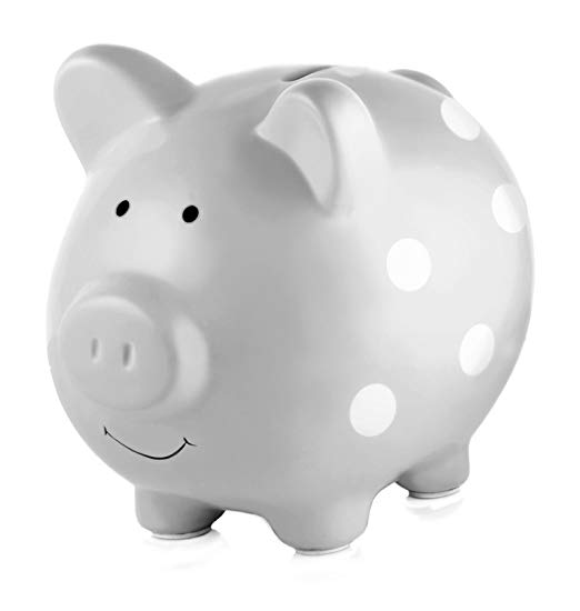 2. Pearhead Ceramic Piggy Bank, Makes a Perfect Unique Gift, Nursery Décor, Keepsake, or Savings Piggy Bank for Kids, Grey with White Polka Dots