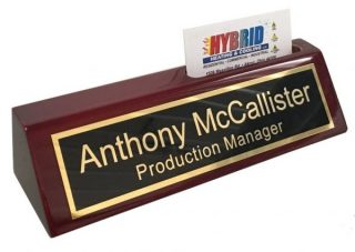 2. Personalized Business Desk Name Plate with Card Holder - Includes Engraving &
