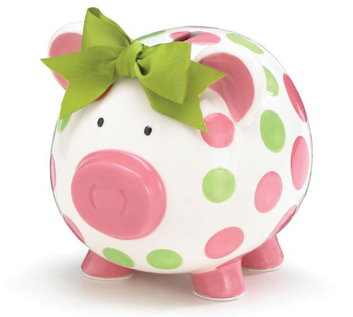 3. Burton & Burton Girls Pink & Green Circles Pig Piggy Bank Green Bow Ceramic Personalized Baby Nursery Decor