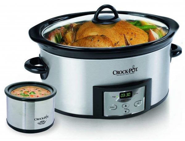 3. Crock-Pot 6-Quart Countdown Programmable Oval Slow Cooker with Dipper, Stainless Steel, SCCPVC605-S