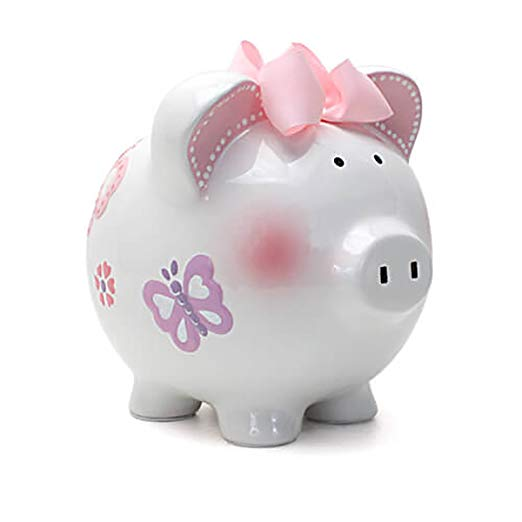 4. Child to Cherish Ceramic Piggy Bank for Girls, Butterfly