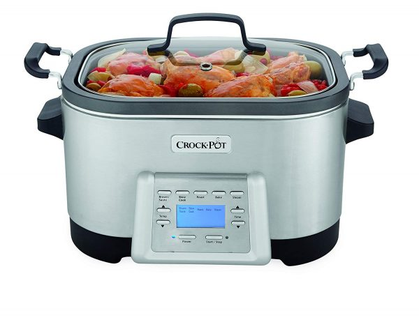 4. Crock-Pot 6-Quart 5-in-1 Multi-Cooker with Non-Stick Inner Pot, Stainless Steel