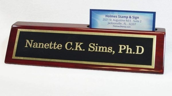 4. Desk Name Plate With Card Holder