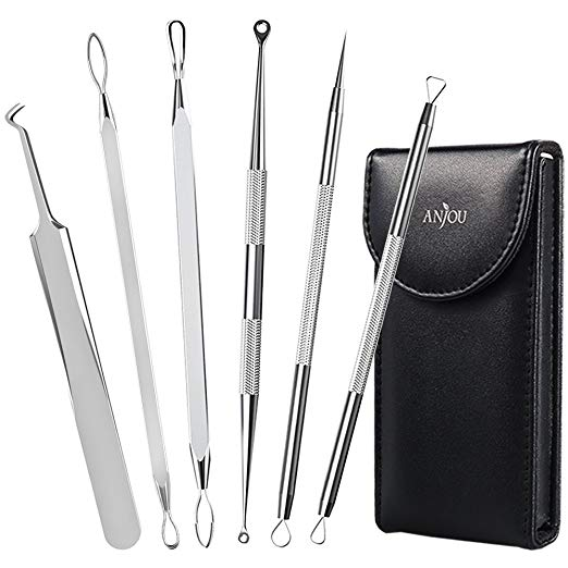 5. Anjou Blackhead Remover Comedone Extractor, Curved Blackhead Tweezers Kit, 6-in-1 Professional Stainless Pimple Acne Blemish Removal Tools Set