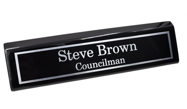 5. Custom Desk Name Plate, Silver Aluminum Plate on Black Wedge with Piano Finish