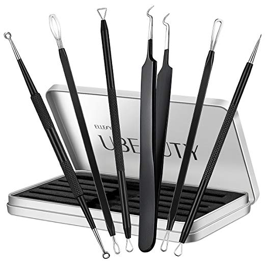 6. Blackhead Remover, ElleSye 6-PCS Pimple Comedone Extractor, Blackhead Removal tool, Whitehead Blemish Acne Zit Remover Tweezer Kit for Risk Free