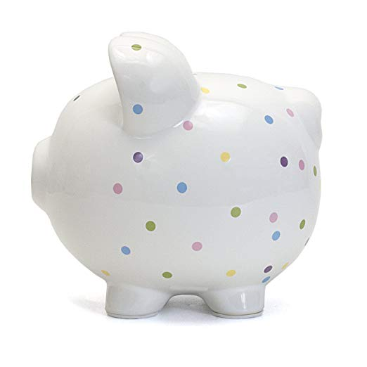 6. Child to Cherish Ceramic Polka Dot Piggy Bank (Confetti)