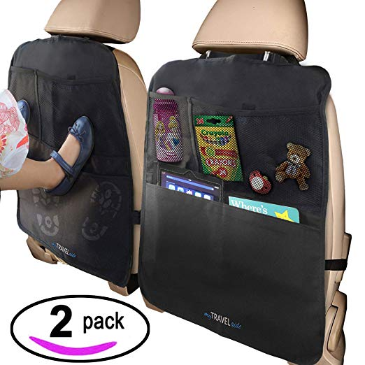 6. MyTravelAide Kick Mats with Car Backseat Organizer