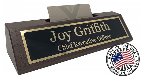 6. Personalized Business Desk Name Plate with Card Holder - Made in USA (Walnut Wood)