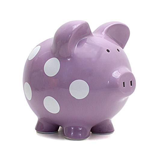7. Child to Cherish Ceramic Polka Dot Piggy Bank for Girls, Purple