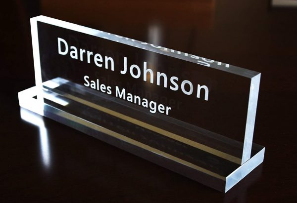 8. Acrylic Name Plate Office Desk Bar Custom Personalized Engraved