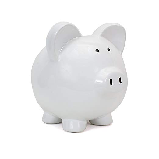 8. Child to Cherish Ceramic Piggy Bank, White