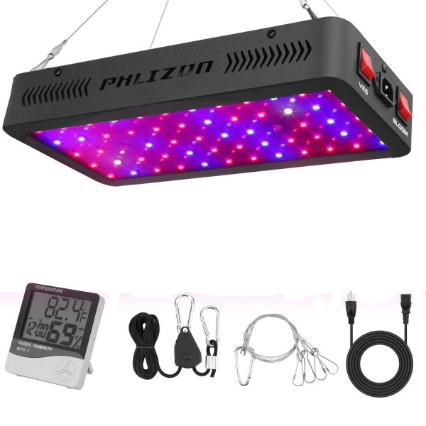 8. Phlizon Newest 600W LED Plant Grow Light,with Thermometer Humidity Monitor,with Adjustable Rope,Full Spectrum Double Switch Plant Light for Indoor Plant