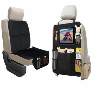 8. ebogner Car Seat Protector + Backseat Organizer with iPad and Tablet Holder, Durable Quality Seat Covers