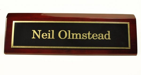 9. Rosewood Piano Finish Desk Name Plate 2 X 8 - Black Plate, Gold Engraving - Free Engraving