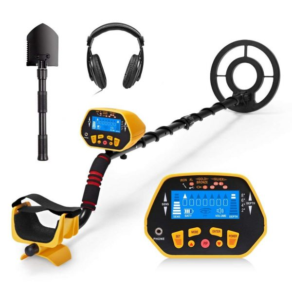 10. URCERI GC-1028 Metal Detector High Accuracy Waterproof 2 Modes Outdoor Gold Digger with Sensitive Search Coil LCD Display for Beginners Professionals