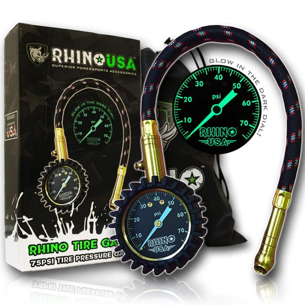 2. Rhino USA Heavy Duty Tire Pressure Gauge (0-75 PSI) - Certified ANSI B40.1 Accurate