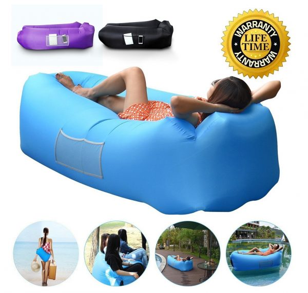 3. Anglink Outdoor Inflatable Lounger Couch, Thick Durable Comfortable, Air Sofa Blow Up Lounge Sofa Carrying Bag Travelling