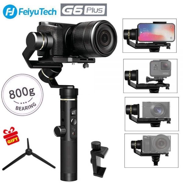 6. Feiyu G6 Plus 3-Axis GoPro Gimbal Stabilizer Splash-Proof DSLR Gimbal 12 Hours Running Time for Camera