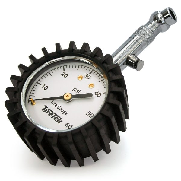 6. TireTek Premium Tire Pressure Gauge with Integrated Hold Valve - 60PSI