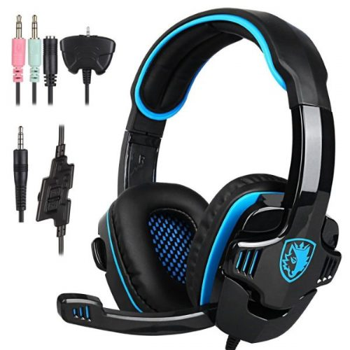 1. Stereo Gaming Headphone, SADES SA708GT PS4 Gaming Headphone with Microphone (Blue)
