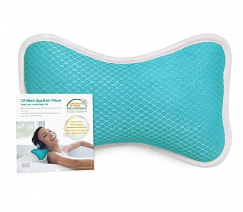 11. Non-Slip Bath Pillow with Suction Cups, Supports Neck and Shoulders Home Spa Pillows for Bathtub, Hot Tub, Jacuzzi, Anti Bacterial & Comfy - Blue