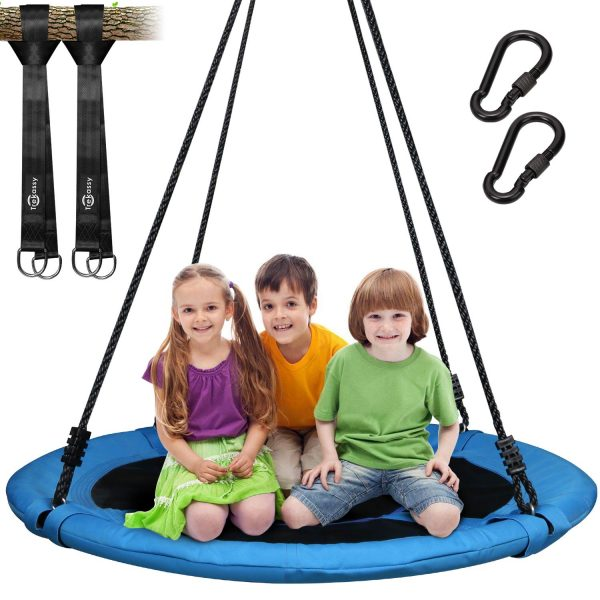 14. Trekassy 700lb Saucer Tree Swing for Kids Adults 40 Inch 900D Oxford Waterproof Frame with 2 Hanging Straps